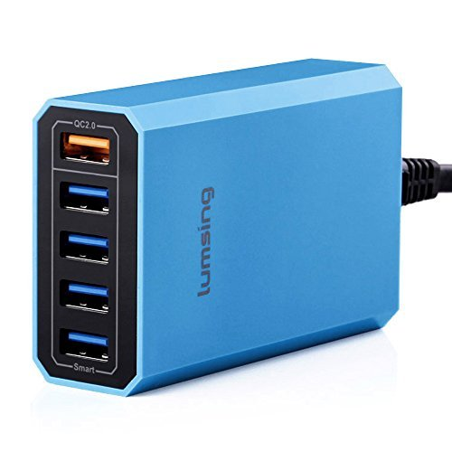Lumsing 40W 5-Port USB Charging Station with Quick Charge 2.0, Multi Plug Desktop Charger for iPhone, Samsung Galaxy, Android Phones, iPad,Tablet, Power bank and more – Blue