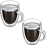 MIBRU Set of 2 - Glass Coffee Mug with Handle, Double Wall Glass Coffee Cups, Coffee Glasses Cups for Cappucci