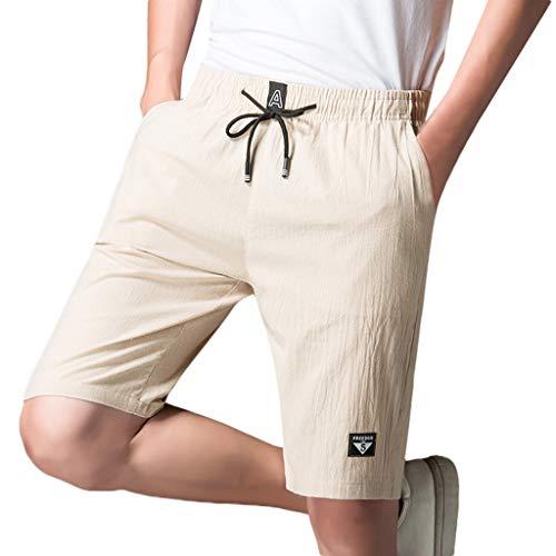Shorts Herren Sommer Bettwäsche Aus Baumwolle Solide Täglich Beiläufig Hose Capri Bib