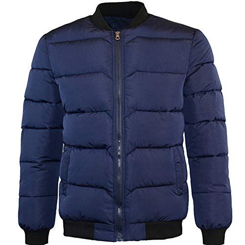 Hommes Zipper Col Mandarin De Baseball Manteau De Coton VêTements Epais Doudoune Hiver Autumne Veste Casual Sweatshirt Sport Pullover Blouse Blouson Pardessus Marine XL