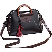 Deaman Pelle PU Handbag Donne Borse Tracolla Vintage Messenger Bag Zippo  Borsa a Mano con Nappa cd4ffb5d773