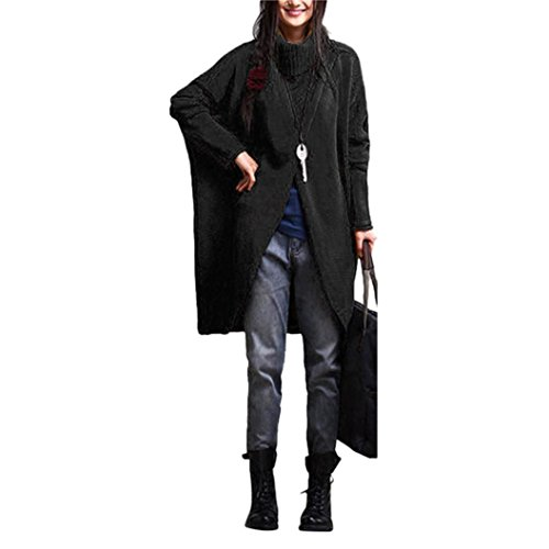 Damen Kleider,DOLDOA Langärmliger Rollkragenpullover mit asymmetrischem Saum Gestrickte Oberteil (EU: 54, Schwarz,Rollkragenpullover mit asymmetrischem Saum Oberteil) (Kleid Asymmetrische Back Open)