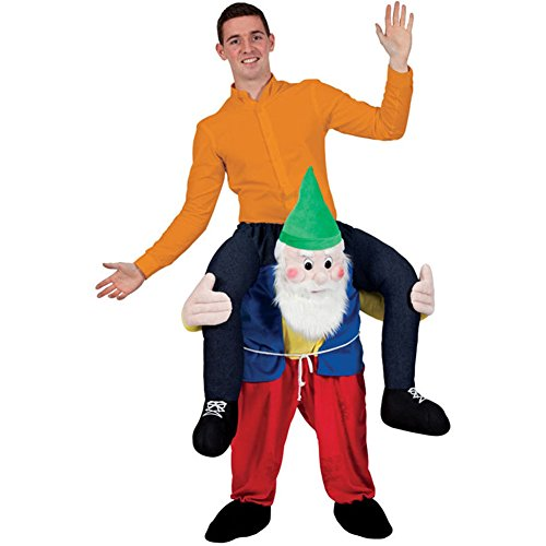 Carry Me Piggy Back Gnome Funny Adults Santa Mascot Fancy Dress Up Party Dwarf Costume