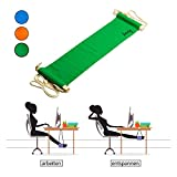 Amazy Fuß Hängematte für extra breite Tische bis 2,00 m – Höhenverstellbare Fußstütze zur Entspannung und Entlastung am Schreibtisch und im Büro (Grün)