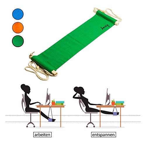 Amazy Fuß Hängematte für extra breite Tische bis 2,00 m - Höhenverstellbare Fußstütze zur Entspannung und Entlastung am Schreibtisch und im Büro (Grün) - Fuß Beinauflage
