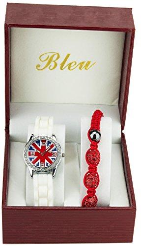 Geschenkset Damen Mädchen Armbanduhr Englisch Flagge Strass Armband Rot Shamballa Rotes Shamballa Armband
