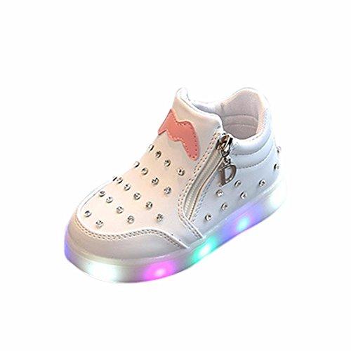 LED Leuchtenden Sneaker Kleinkind Kinder, DoraMe Baby Jungen Mädchen Strass PU Turnschuhe Cartoon Zipper Weichen Boden Sport Schuhe für 1-6 Jahr (5-5.5 Jahr/Size(CN):29, Weiß) (Strass-mokassin)