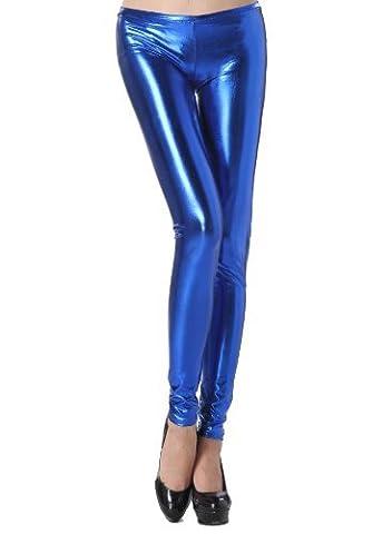 Zarlena Metallic Shiny Wet Look Leggings glänzend in vielen Farben Low Waist 34 36 38 Blau 253