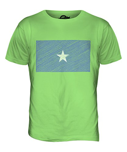 CandyMix Somalia Kritzelte Flagge Herren T Shirt Limettengrün