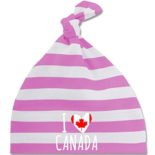 Städte & Länder Baby - I love Canada - Unisize - Pink/Naturweiß - BZ15S - gestreifte Baby Mütze mit Knoten / Bommel für Jungen und Mädchen