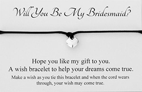 Will You Be My Bridesmaid? Wedding Heart Charm Wish Bracelet Card Gift Bag Friendship charmed Bracelet Party Favour(Hand made in UK) (Black)