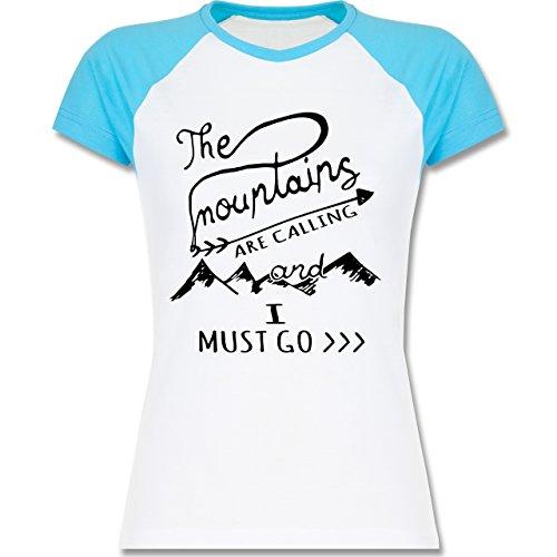 Shirtracer Wintersport - The Mountains Are Calling - Zweifarbiges Baseballshirt/Raglan T-Shirt für Damen Weiß/Türkis