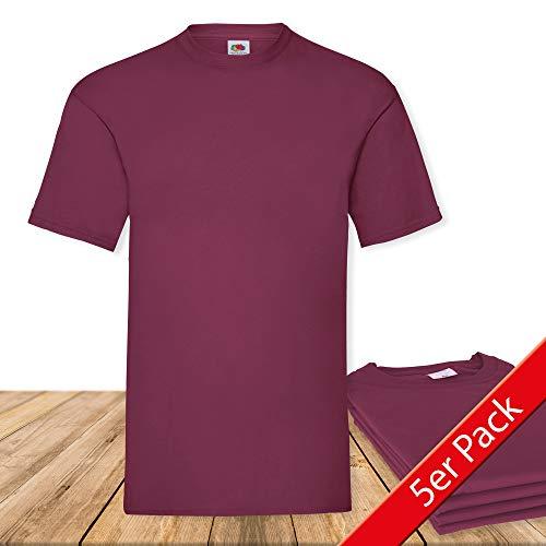 Fruit of the Loom Original  T Rundhals T-Shirt F140 5er Pack- Gr. XL, Burgundy