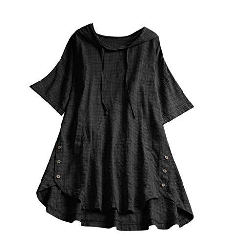QIMANZI Übergröße Damen Lange Ärmel Kaftan Ausgebeult Taste Bettwäsche aus BaumwolleTunika Bluse(Schwarz,3XL) -