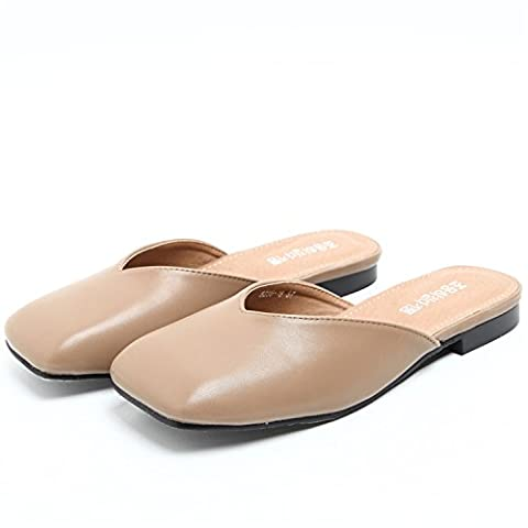 KAI-la moitié des sandales baotou les pantoufles de créativité rétro square mesdames,le kaki,trente -