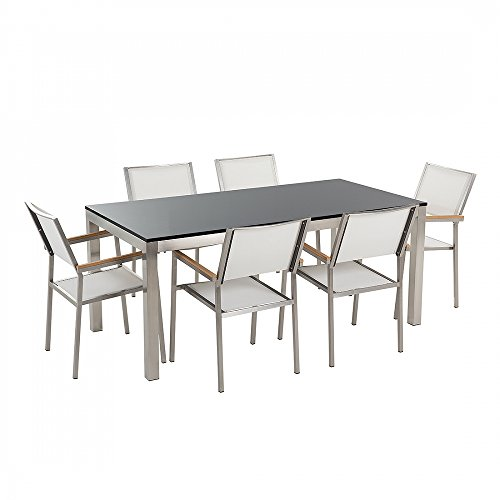 Gartenmöbel - Granitgartentisch single 180 cm schwarz poliert mit 6 weissen Stühlen - GROSSETO