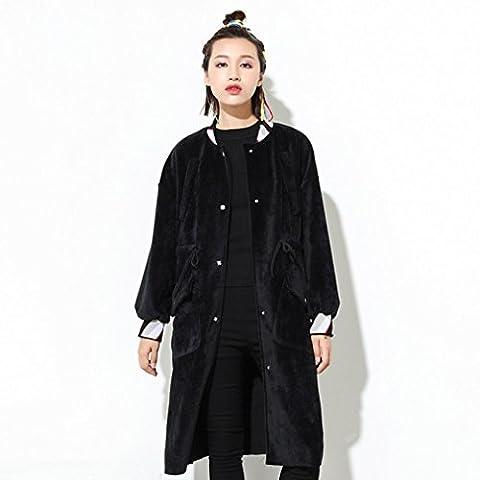 HZFF-Der Code, der in der Lange Winter Mantel Tasche Größe Mantel zurück weiblich männlich, schwarz, W