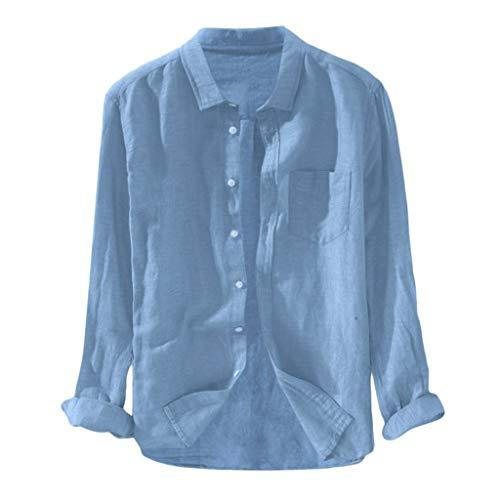 DNOQN Sport Poloshirt Herren Herren Baggy Solide Baumwolle Leinen Langarm Knopf Tasche Übergröße T Shirts M (Christian Polo-shirts)