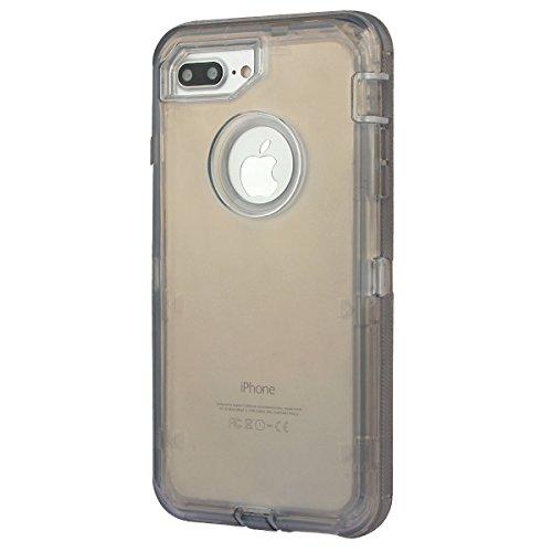 """xhorizon [PC+TPU] 3 Schichte Schutz-Hybrid-Rüstung haltbarer Stoßdämpfender gegen hohem Schlag aus starkem Gummi hybride verteidige Gehäuse-Bucht mit Gürtelclips für iPhone 7 Plus [5.5""""] schwarz"""