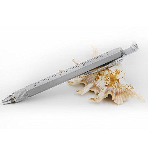 Super 7 in 1 multi-función strumento di metallo penna con righello, penna, Livella, Stylus e 2 cacciavite, Utensile multifunzione Pen Fit per uomo regalo ( 7 in 1 nero )