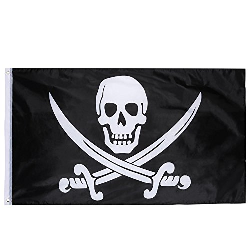 Hestya Piraten Flagge Pirate Flag für Piratentag, Halloween Party, Piraten Motto Party, Geburtstagsfeier, 1 Packung, 3 x 5 Fuß