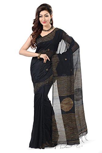 Wooden Tant Black Ball Ghicha Handloom Cotton Silk Saree With Hand Weaved...