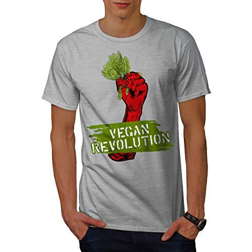 wellcoda Vegano Rivoluzione Uomini Maglietta Crudo T-Shirt con Stampa Grafica