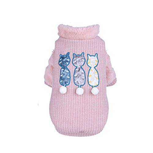 Welpen-Hunde-Kleidung Teddy Small Welpen Pet Sweater Woven Thick Herbst Und Winter Kleidung,Pink,S
