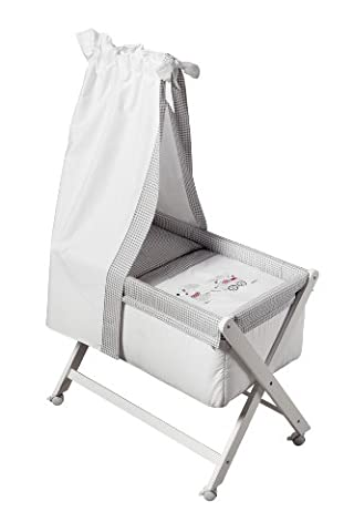 Cambrass 46 x 78cm Wood Frame Small Bed/ Crib with Canopy with Applique Designer Mice (Collection 75, White/ Grey)