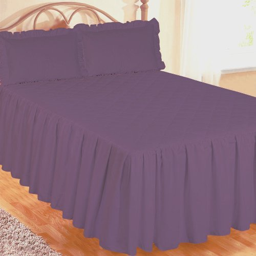Hotel Sham (King Size Bed Fitted Bedspread Purple With 2 Pillow Shams, Luxurious Hotel Quality 200 Thread Count Egyptian Cotton, Traditional Quilted Wavy Diamond, Extra Deep Side Frill 22 by Ambiance)