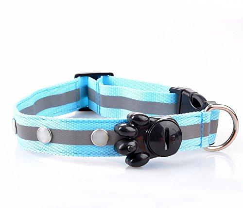 Nopson LED Hundehalsband Blinkt hell farbig Nacht Sicherheit Kragen super hell einstellbare blinkende Sicherheit Haustier Leine, blau, mittel