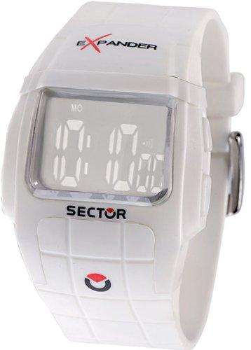 Sector R3251172045 - Reloj digital unisex de cuarzo con correa de goma blanca