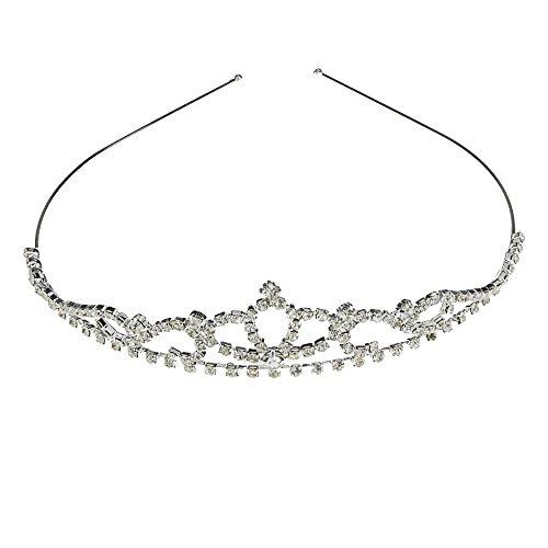 Ecloud Shop 2 pieces Strass Diamant Haarreifen Diadem Krone Silber Metall CHARMS