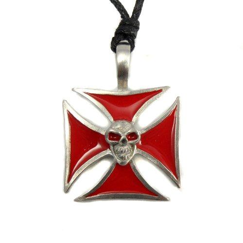 urban-hq-pewter-red-templar-maltese-cross-skull-biker-gothic-punk-surfer-pendant-supplied-on-an-adju