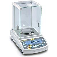 Balanza compacta analítica de gama alta [Kern AEJ 200-5CM] Con programa de calibrado de pipetas práctico y memoria de muestras, aprobación de homologación [M], Campo de pesaje [Max]: 80 g / 220 g, Lectura [d]: 0,01 g / 0,1 g, Reproducibilidad: 0,04 g / 0,1 g, Linealidad: 0,1 g / 0,2 g