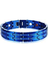 VNOX Cuerpo Sano Acero Inoxidable para Hombres 4 en 1 Terapia Magnética Curación Pulsera Masónica Azul 21.5cm