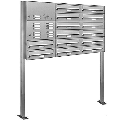 AL Briefkastensysteme 14er Edelstahl Standbriefkasten mit Klingel rostfrei als 14 Fach Briefkastenanlage in Postkasten Briefkasten Design modern