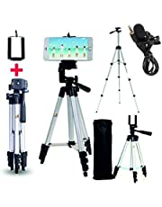 Marklif®Adjustable Aluminium Alloy Tripod Stand Holder for Mobile Phones, 360 mm -1050 mm, 1/4 inch Screw with 3.5mm Clip On Mini Lapel Lavalier Microphone (Black)
