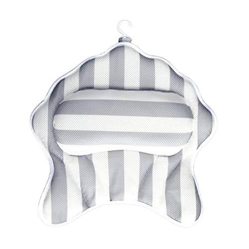 1 almohada de baño con 6 ventosas de fuerza para bañera y spa almohada para silla de playa, reposacabezas...
