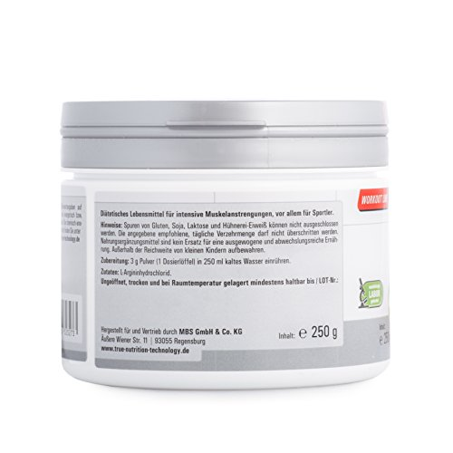 L-Arginin Pulver für Muskelaufbau von TNT – NO Booster fördert die Durchblutung – Pump Booster / 250g NEUTRAL