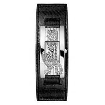 Guess , W80055L1 , Montre Femme , Quartz Analogique , Cadran Argent , Bracelet  Cuir Noir