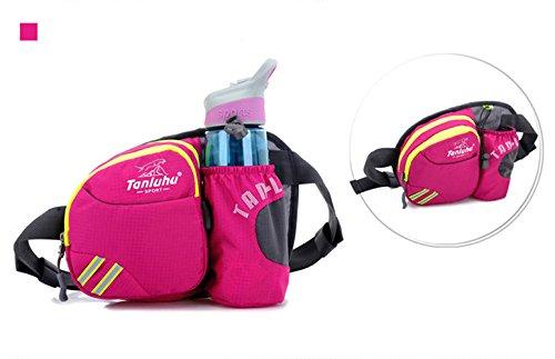 Unisex Impermeabile Waist Bag Marsupio Colorato Sacchetto di petto Casual Borsa con Porta Bottiglia D'acqua - Blu chiaro Rosa rossa