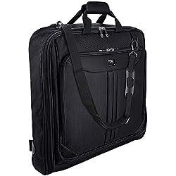 Housse à vêtements 3 costumes Zegur de 1 mètre pour voyage d'affaires ou d'agrément - Possède une bandoulière réglable et de nombreuses poches de rangement - Noire