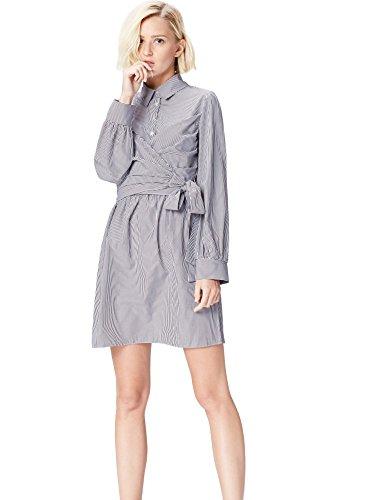 FIND Damen Hemdblusenkleid mit Wickeldetail Blau (Blue Stripe), 38 (Herstellergröße: Medium)