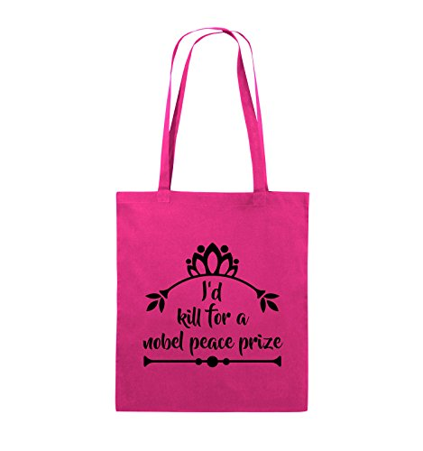 Comedy Bags - I'd kill for a nobel peace prize - Jutebeutel - lange Henkel - 38x42cm - Farbe: Schwarz / Silber Pink / Schwarz