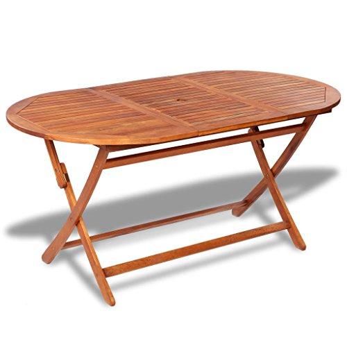 Festnight- Klappbar Gartentisch Esstisch Akazienholz Oval | Massivholz Klapptisch Campingtisch Garten Tisch Terrassentisch Gartenmöbel Braun 160 x 85 x 75 cm