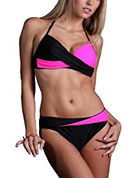 Maillot de Bain Femme Bikini 2 pièces Bicolore Noir - Drapé Croisé