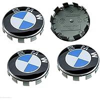 Sinbow 4 pièce 68mm Logo embleme enjoliveurs de moyeu de Roue enjoliveurs de Cache moyeux pour Roue pour BMW