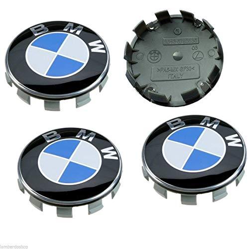 Sinbow 4 x Nuevo 68 mm Azul Blanco Logo Insignia Emblema Rueda Centro tapacubos Tapas Serie Encajar BMW