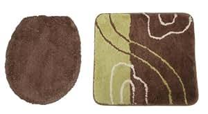 Kinzler J-10254/18 Lot de 2 tapis sans découpe pour WC suspendu comprenant un contour WC et une housse pour abattant WC en microfibre non pelucheuse Motif Ines 47 x 51 cm/50 x 55 cm